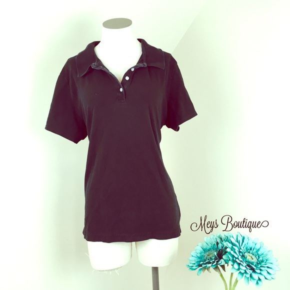9118abf3 Riders by Lee Tops | Riders Black Button Collared Tee Size Xl | Poshmark